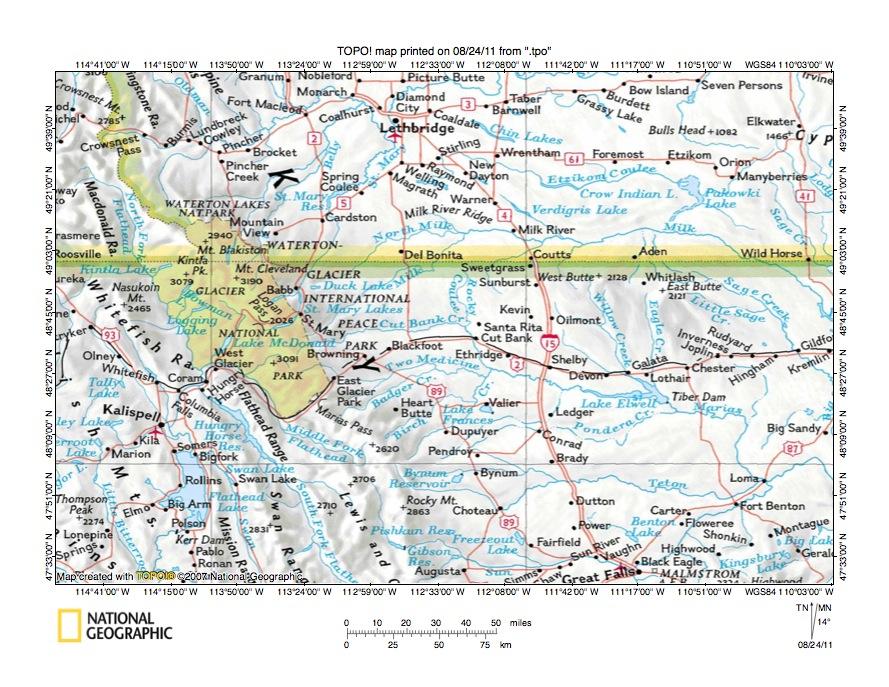 Cut Bank CreekTwo Medicine River Drainage Divide Area