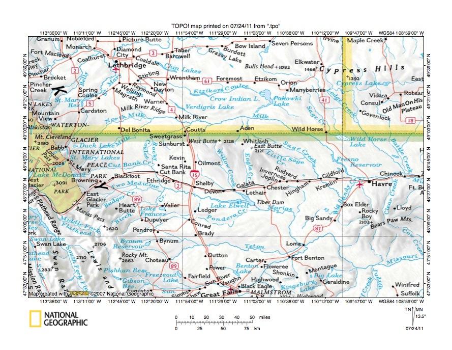 sweetgrass hills montana map Milk River Marias River Drainage Divide Area Landform Origins