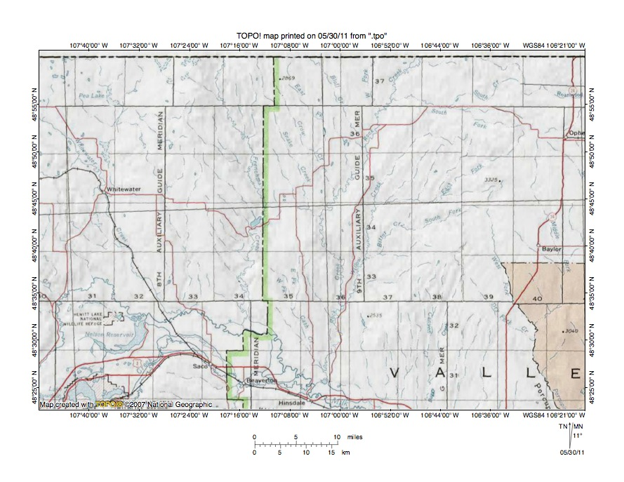 Frenchman CreekRock Creek Drainage Divide Area Landform