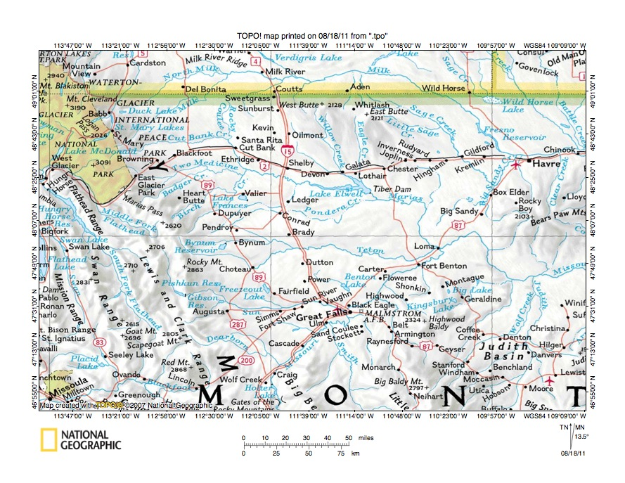 Montana Marias River Drainage Basin Area Landform Origins Montana - Us drainage basins map