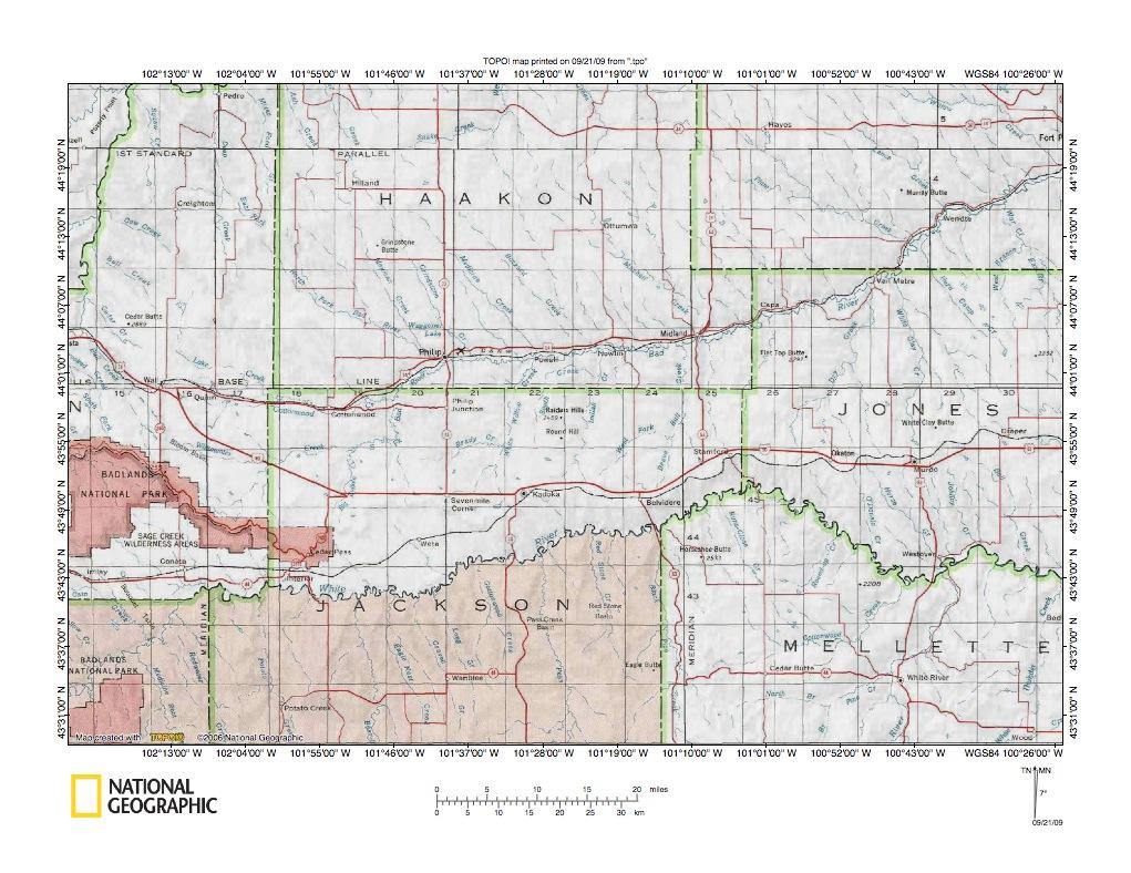 Bad RiverWhite River Drainage Divide Area Landform