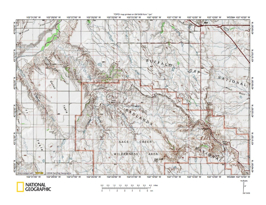 Cheyenne RiverBad River Drainage Divide Area Landforms South - Us map with south dakota