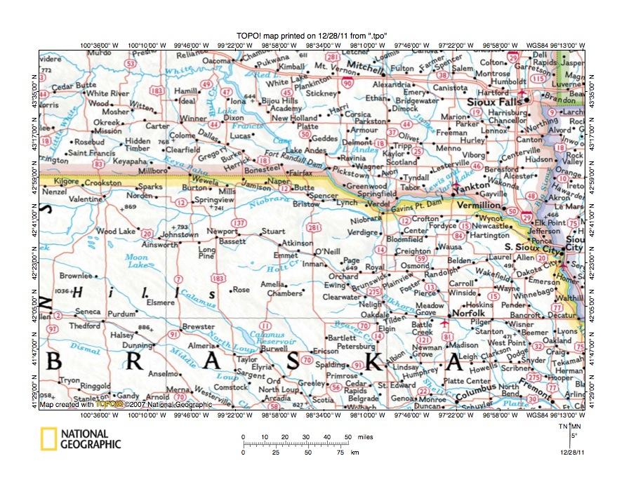 Niobrara River Drainage Basin Landform Origins Nebraska USA - Usa map nebraska