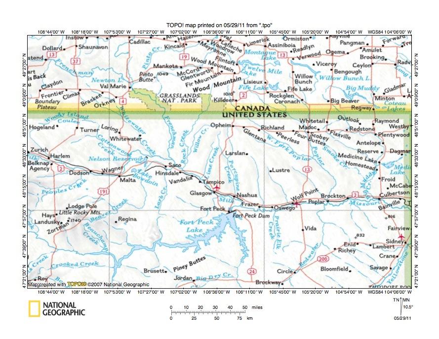 Rock CreekPorcupine Creek Drainage Divide Area Landform