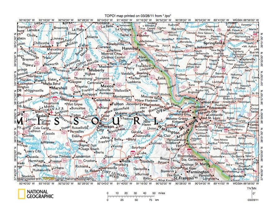 Mississippi RiverMissouri River drainage divide area landform