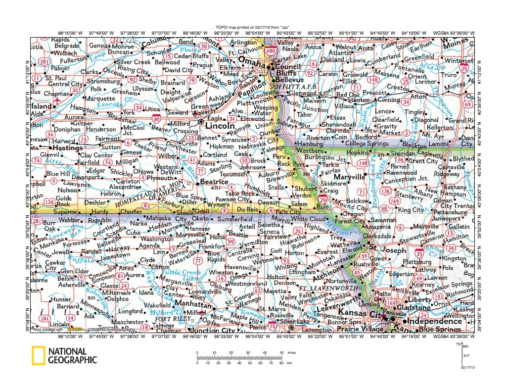 Big Blue RiverBig Nemaha River Drainage Divide Area Landform - Nebraska rivers map