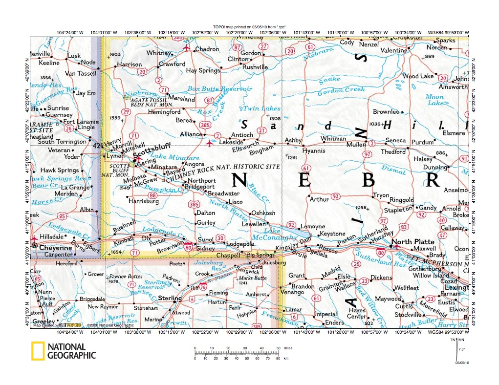 Snake CreekNorth Platte River Drainage Divide Area Landform - Nebraska rivers map