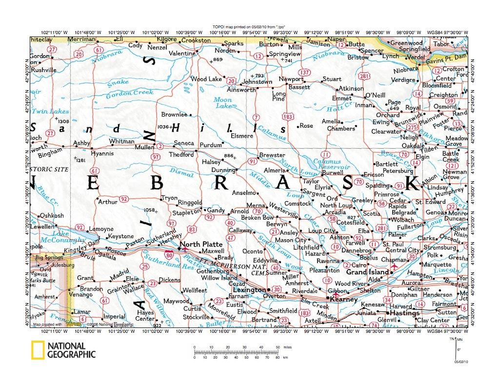 Map Of Nebraska Rivers And Lakes