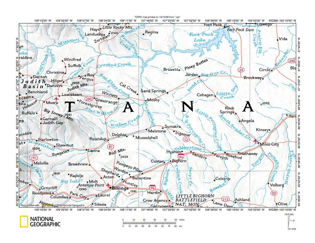 Montana rosebud county angela - Mcdonald Creek Flatwillow Creek Drainage Divide Area Location Map