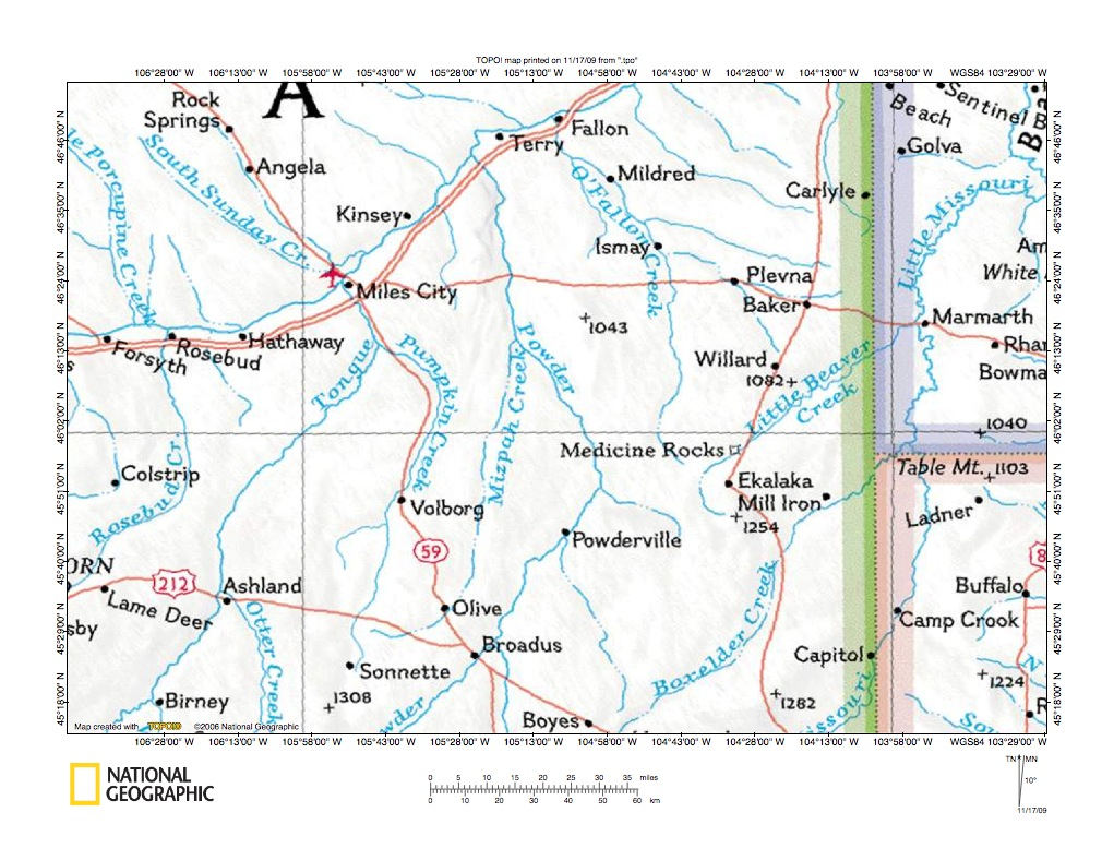Powder River Wyoming Map.Yellowstone River And Tongue River Powder River Drainage Divide