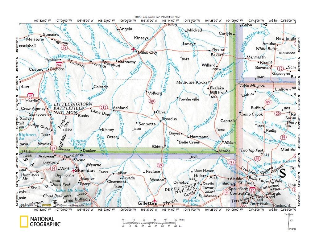 Otter Creek Powder River drainage divide area landform origins