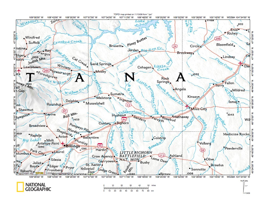 Yellowstone RiverTongue River Drainage Divide Area Landform - Eastern montana map