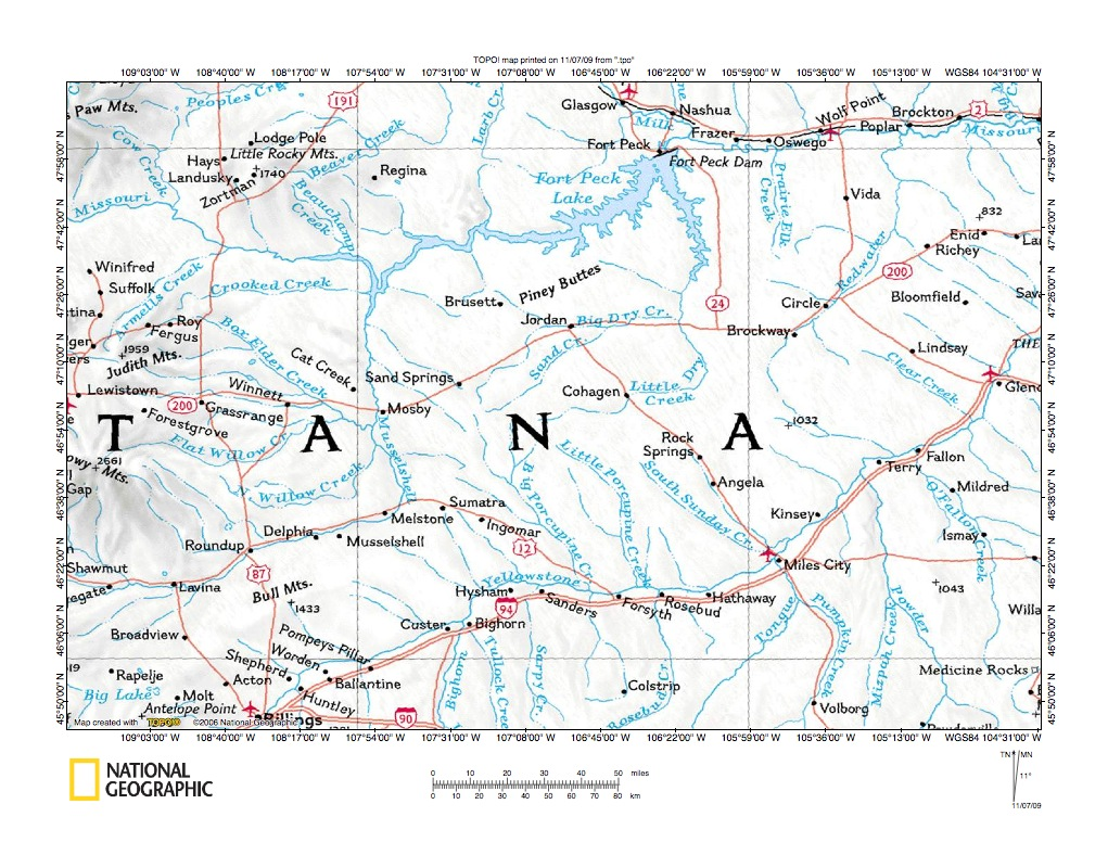 Big Dry Creek Missouri RiverYellowstone River Drainage Divide - Eastern montana map