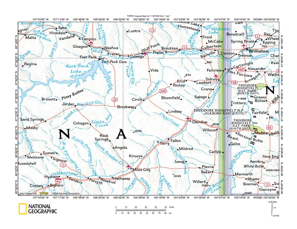 Redwater RiverYellowstone River Southwest End Drainage Divide - Eastern montana map