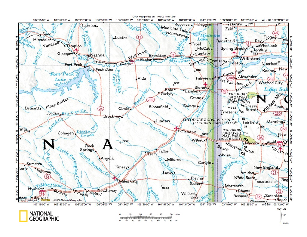 Redwater RiverYellowstone River Drainage Divide Area Northeast - Eastern montana map