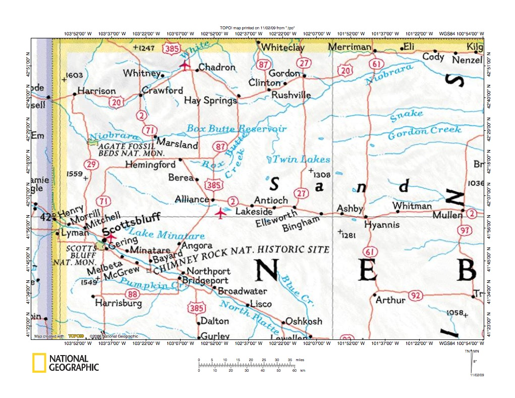 Niobrara RiverSnake Creek Drainage Divide Area Landform Origins - Nebraska rivers map