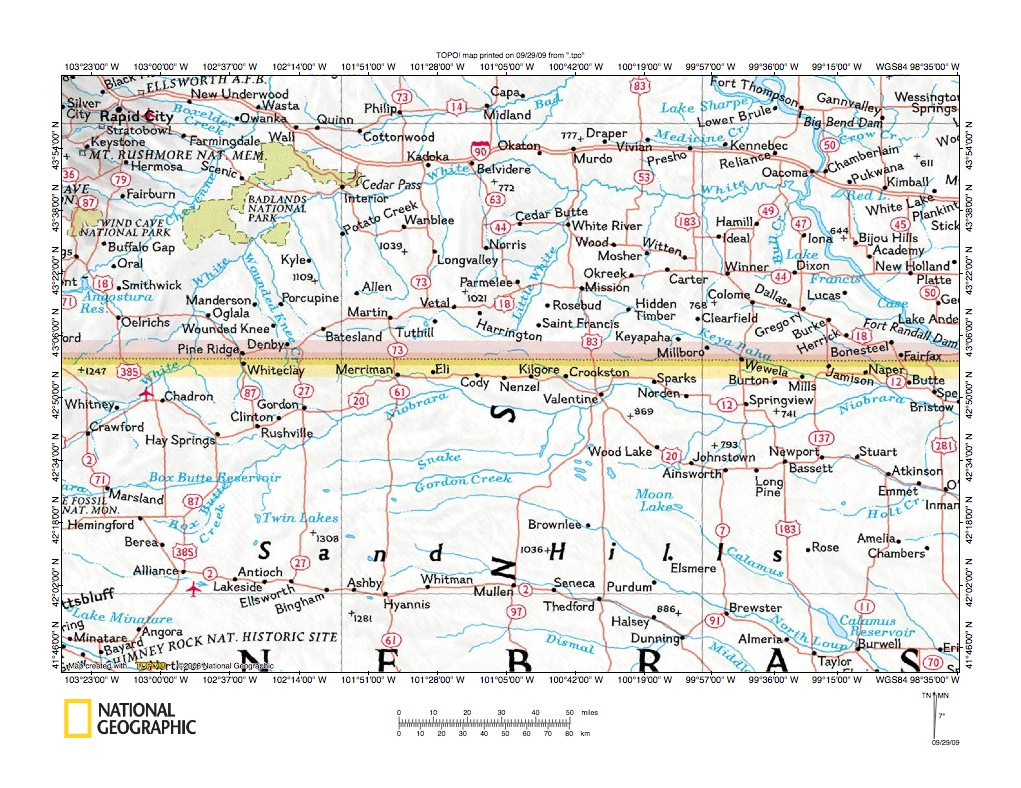 Little White River Niobrara River drainage divide area landform origins Sout