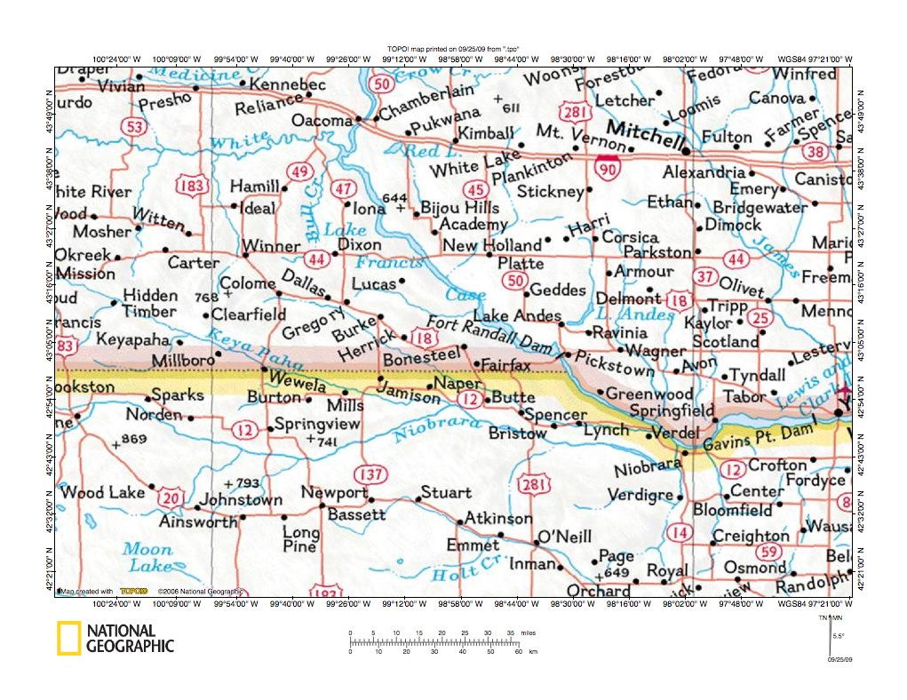 Ponca Creek Keya Paha River drainage divide area landform origins South Dako