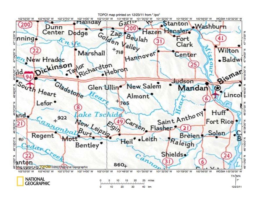 Eastern Heart River Drainage Basin Landform Origins Southwest - North dakota rivers map