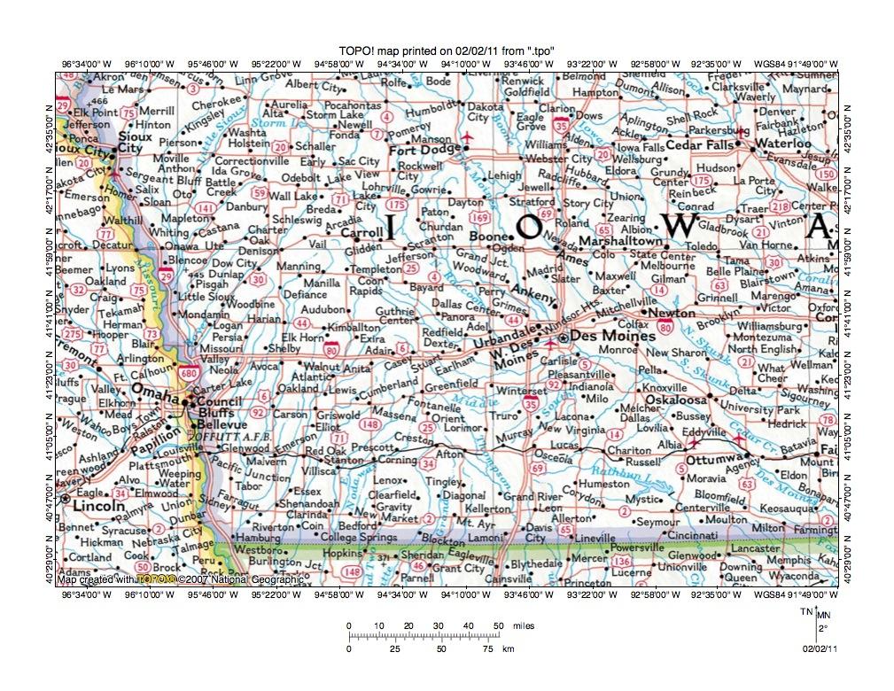 Des Moines River Nishnabotna River drainage divide area landform