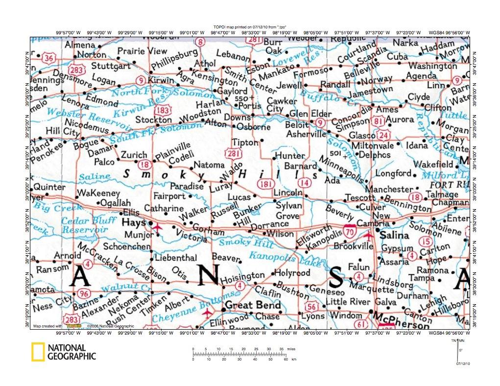 Kansas dickinson county solomon - Solomon River Saline River Drainage Divide Area Location Map