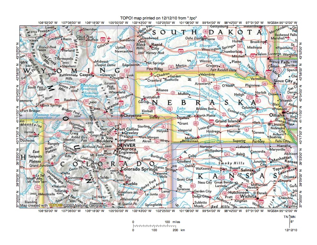 Platte River drainage basin landform origins Colorado Wyoming and Nebraska