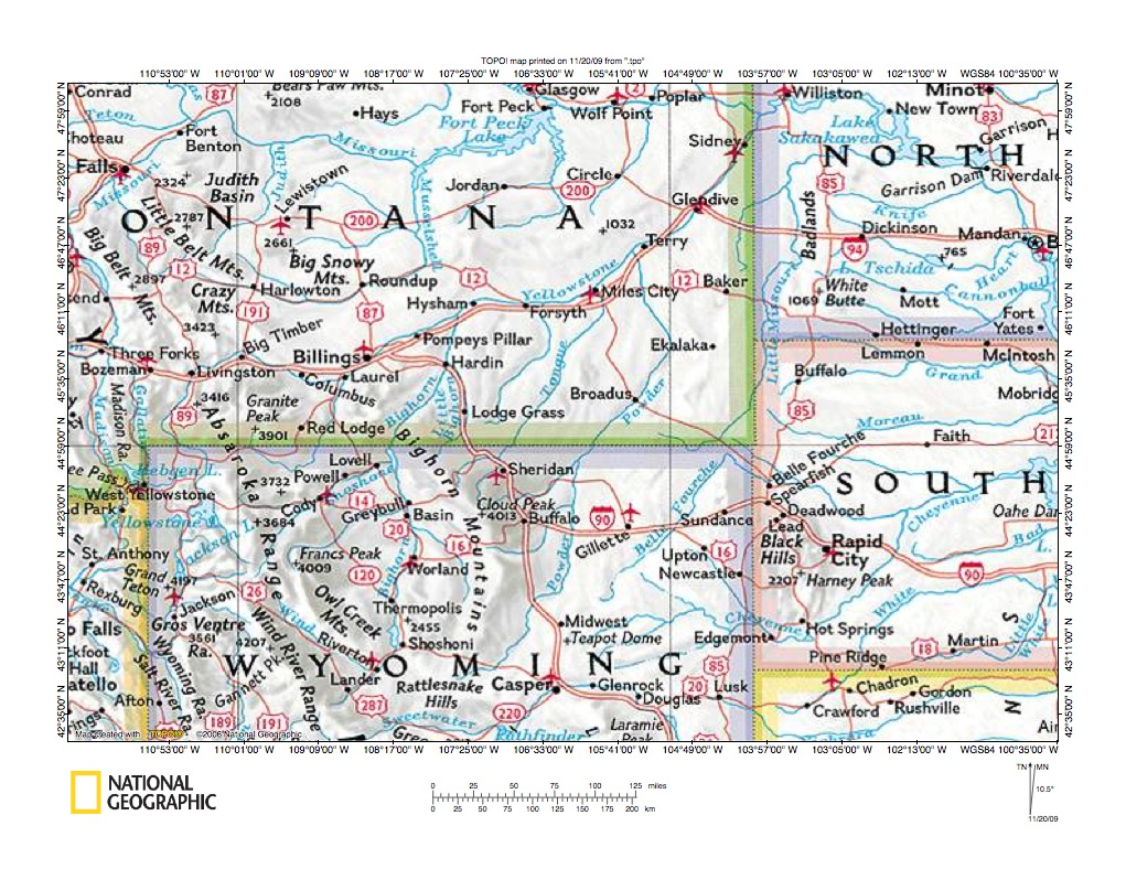 Bighorn River drainage basin landform origins Wyoming and Montana