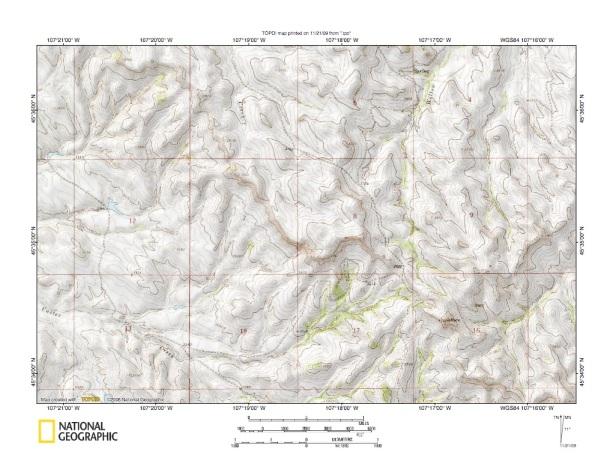 Bighorn River Tullock Creek drainage divide area landform origins south cent
