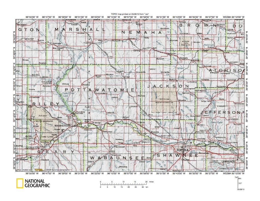 Kansas pottawatomie county fostoria - Big Blue River Delaware River Drainage Divide Area Detailed Location Map