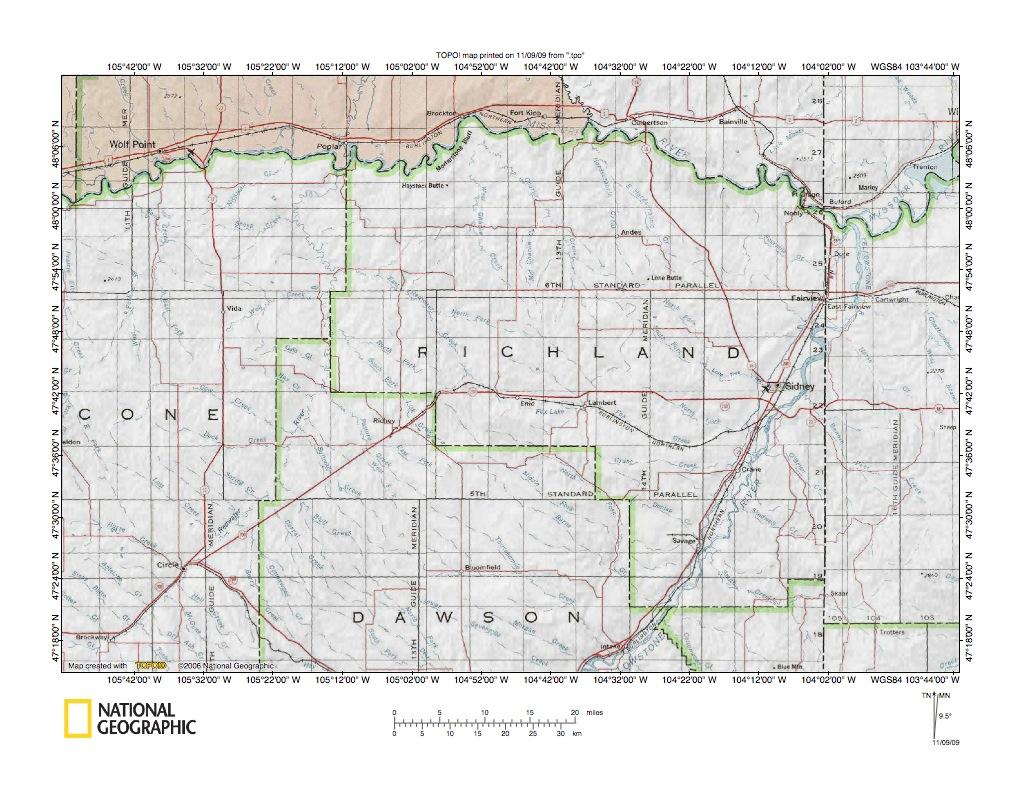 Missouri RiverYellowstone River Drainage Divide Area Landform - United states map of missouri