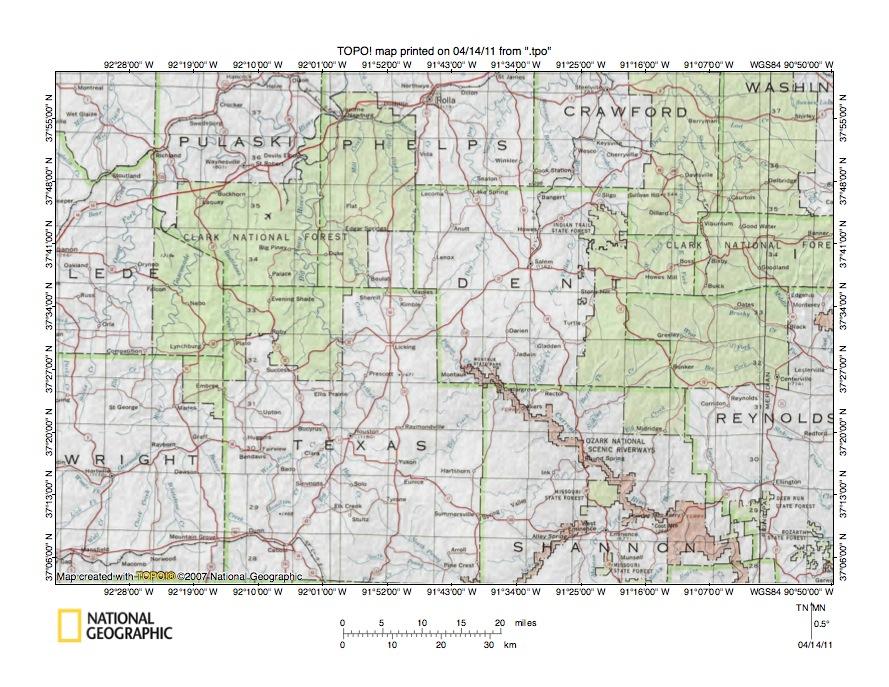 Gasconade RiverCurrent River Drainage Divide Area Landform - Ozark plateau on us map
