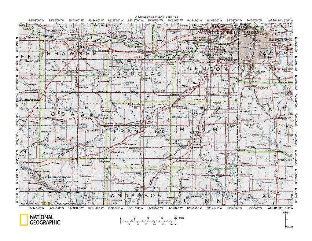 Kansas RiverPottawatomie Creek Drainage Divide Area Landform - Detailed map of kansas