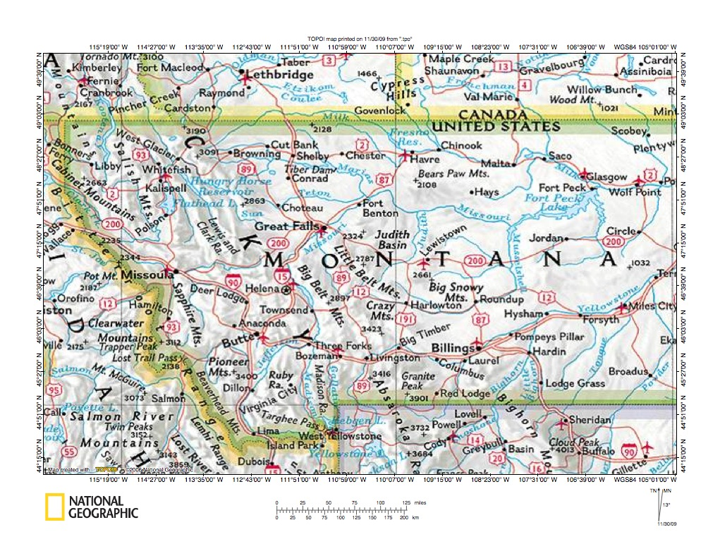 Map Of Montana And Canada Milk River drainage basin landform origins, Montana and Alberta