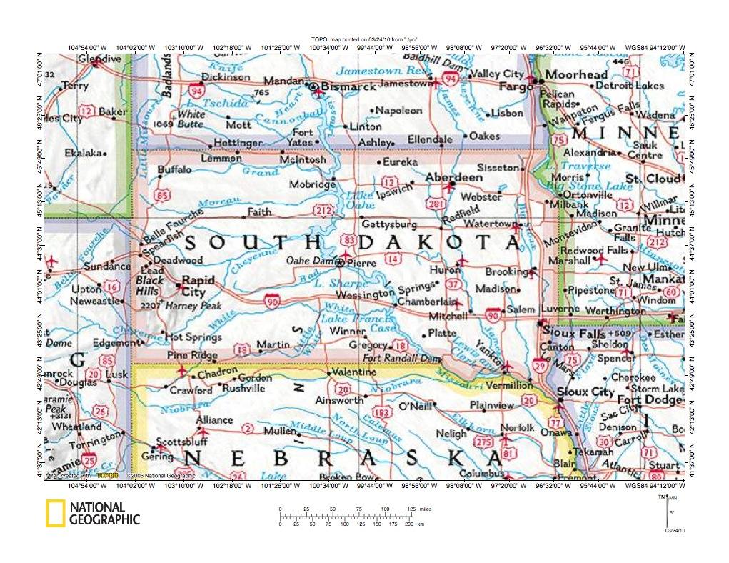 Missouri River Drainage Basin Landform Origins In South Dakota - Map of so dakota