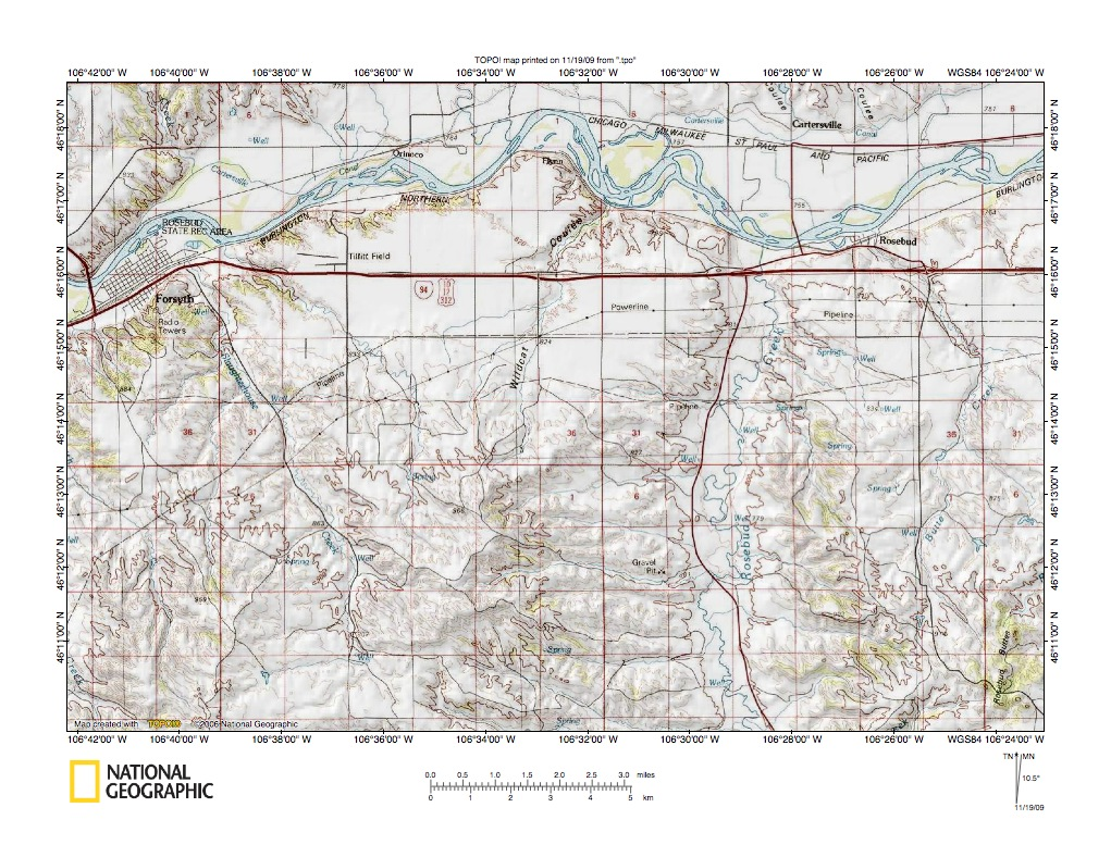 Montana rosebud county angela - Yellowstone River Rosebud Creek Drainage Divide Area Southeast Of Forsyth Montana