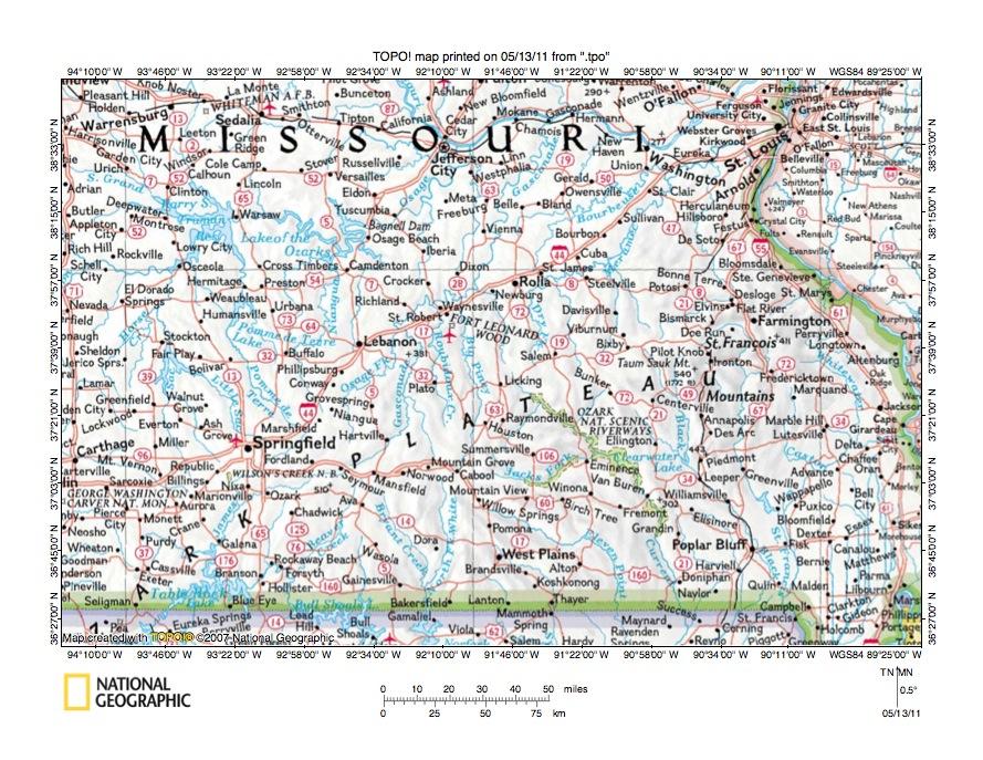 Missouri River Drainage Basin Landform Origins Downstream From - Ozark plateau on us map