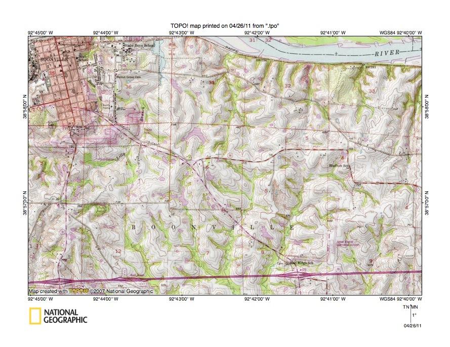 Missouri RiverOsage River Drainage Divide Area Landform