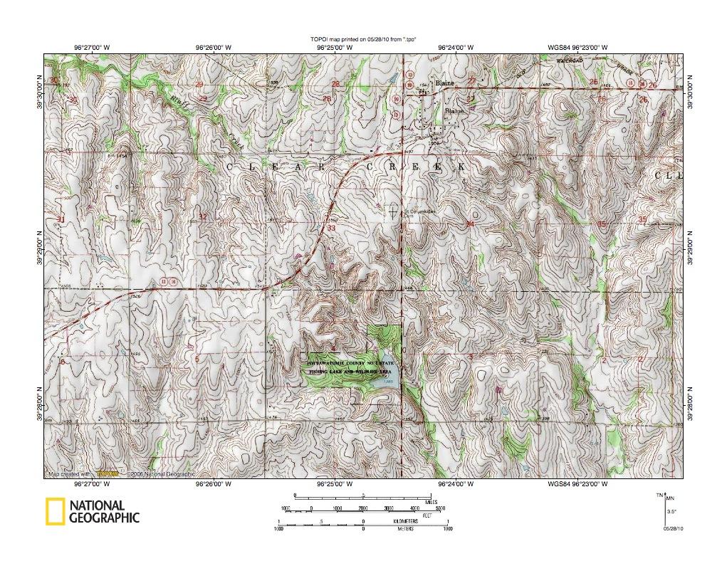 Kansas pottawatomie county fostoria - Detailed Map Of Bluff Creek Rock Creek Drainage Divide Area