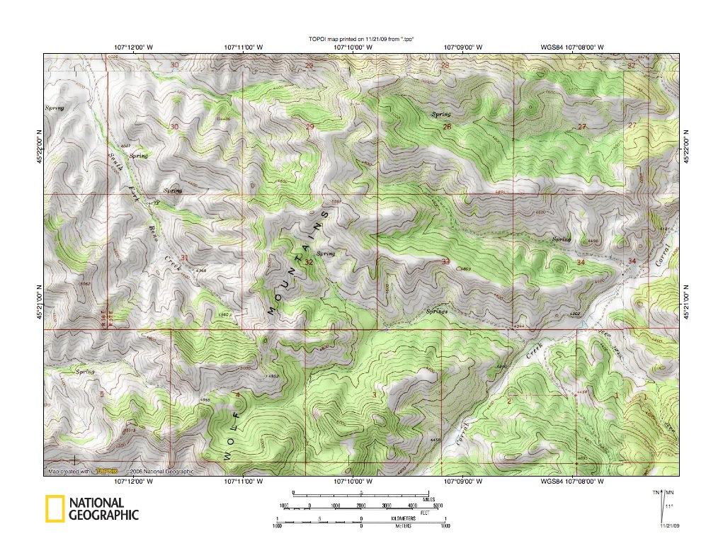 Little Bighorn River Rosebud Creek and Tongue River drainage divide area la