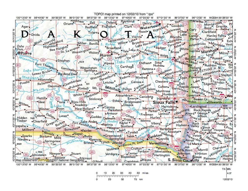 Missouri River drainage basin landform origins in South Dakota USA overview