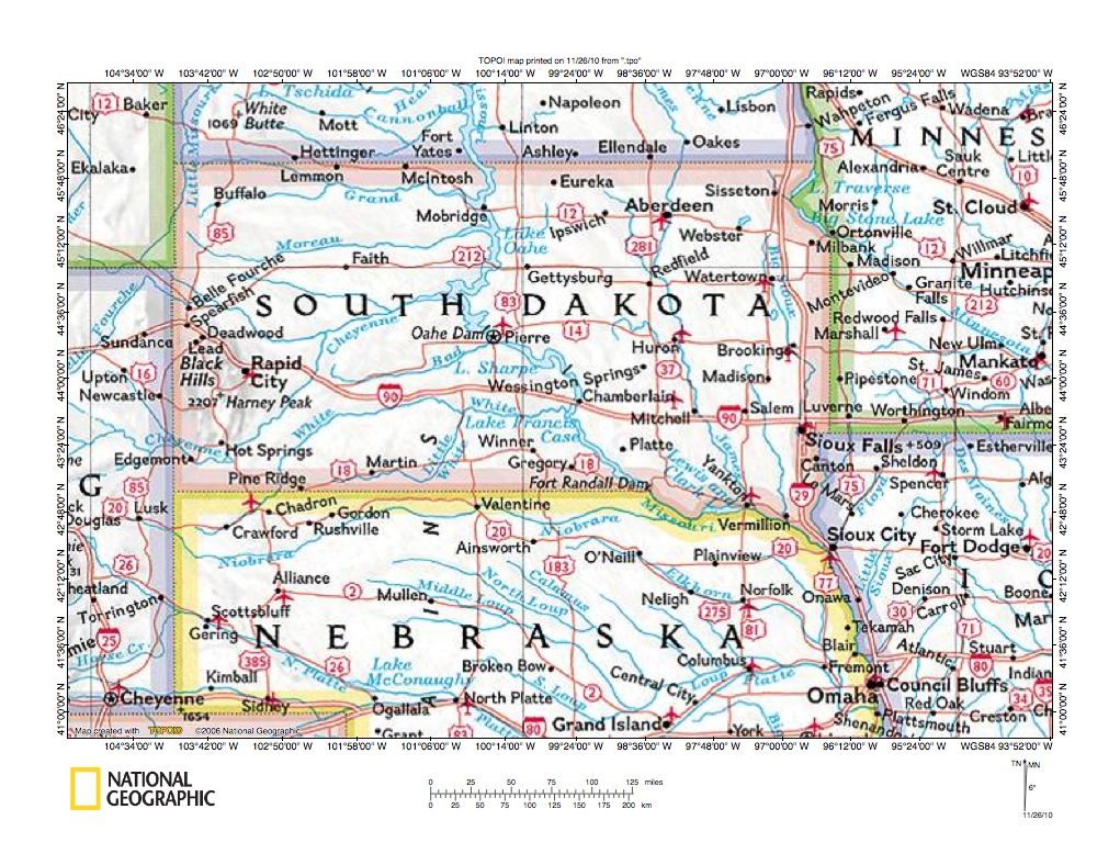 White River drainage basin landform origins Nebraska and South Dakota USA
