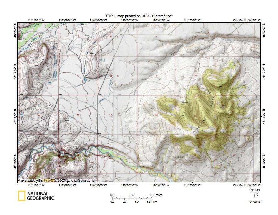 Fish Creek-Sweet Gr Creek drainage divide area landform ... on