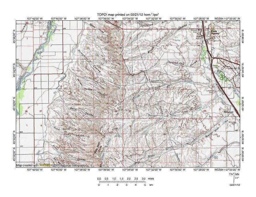 Rotten Grass Creek Little Bighorn River drainage divide area landform origins