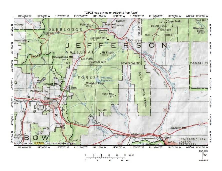 Bison CreekBoulder River drainage divide area landform origins