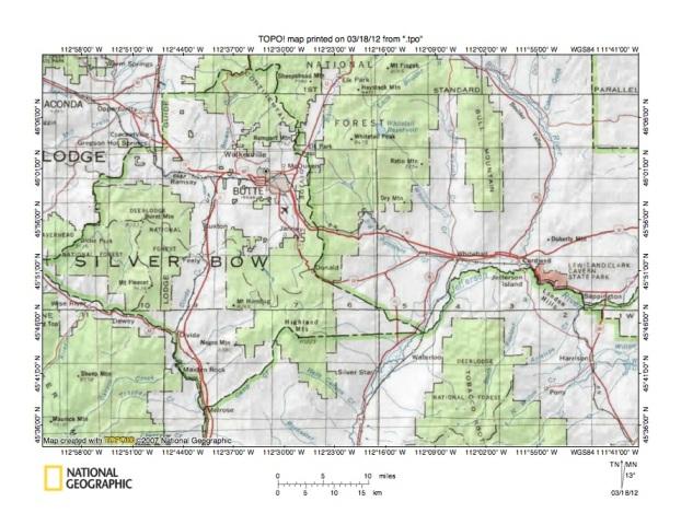 Silver Bow CreekJefferson River Drainage Divide Area