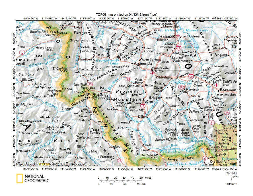 Big Hole River Wise River drainage divide area landform origins