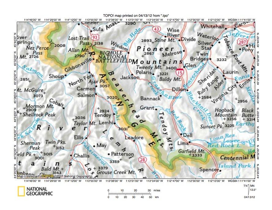 Big Hole RiverLemhi River Drainage Divide Area Landform