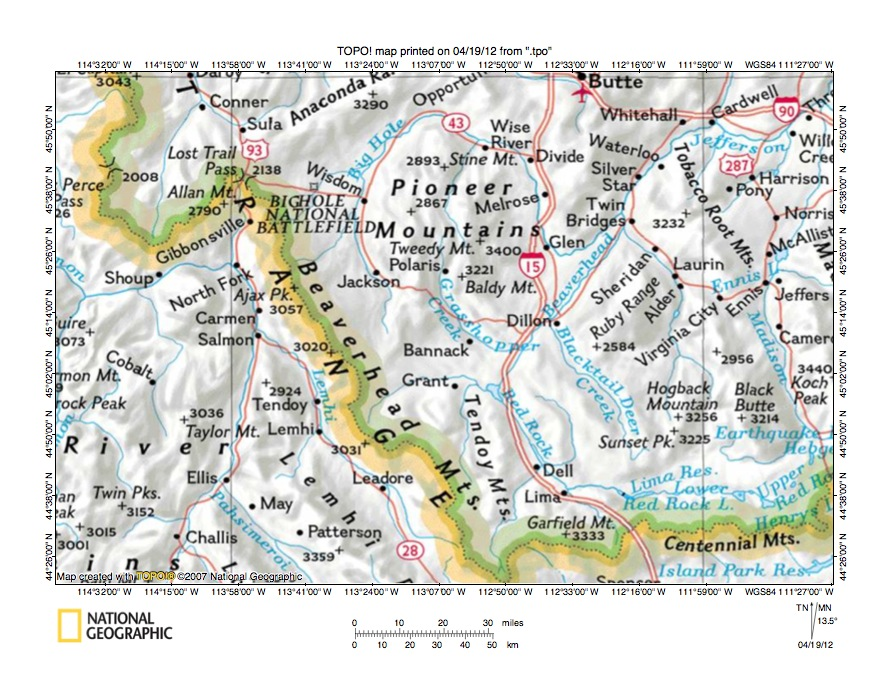 Pioneer Mountains Idaho Map.Big Hole River Beaverhead River Drainage Divide Area Landform