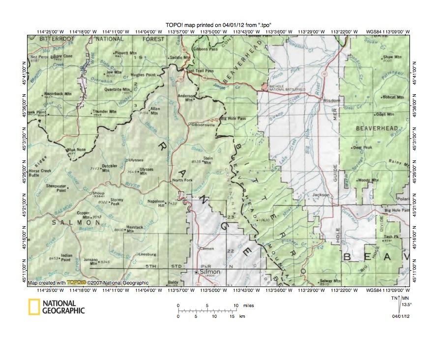 Big Hole RiverSalmon River Drainage Divide Area Landform Origins - Salmon location map us