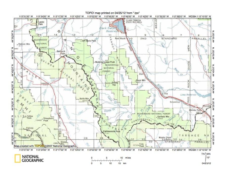Medicine Lodge CreekLemhi River Drainage Divide Area